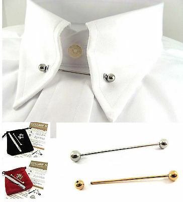 Gold Silver Tone Shirt Collar Tie Pin/Bar +10 Eyelets & Punch Convert Shirt Kit