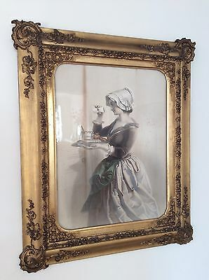 c1850 LARGE Gilt Framed Antique Victorian Engraving PEEPING MAID Costume Fashion