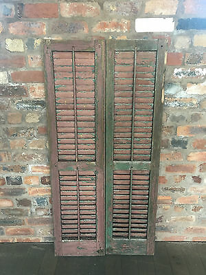 Vintage Shabby Chic French Window Bifold Louvre Shutters