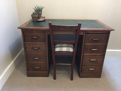 Victorian office desk in Oak with in layed leather writing  surface.