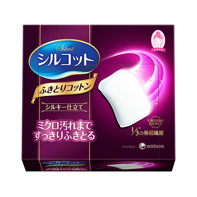 [UNICHARM SILCOT] Silky Touch Cotton Puffs Wipes Makeup Pads 32 Sheets JAPAN NEW