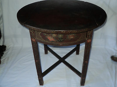 Antique Hand Painted Chinese Drop Side Table