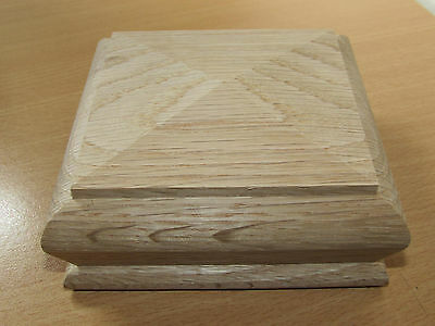 Solid Oak Pyramid Style Stair Newel Caps fit 90mm Double Full or Half Posts