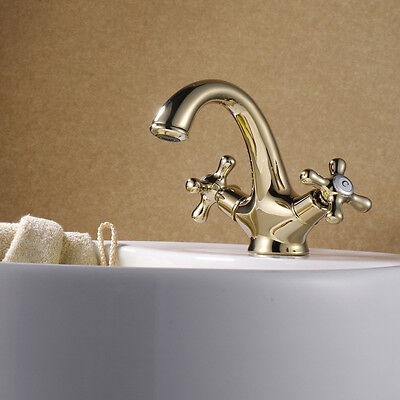 Gold  Plated Faucet Hot and Cold Basin Faucet European Style with Both Hands
