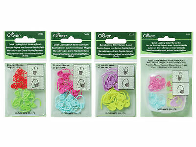 Clover Quick Locking Stitch Markers - Chose Small Medium Large or Set - Knitting