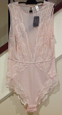 Brand New Bras N Things Pink Lace Bodysuit Size 12 RRP$59.99