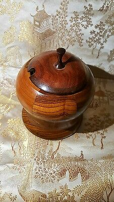 Turned Sugar Bowl and Lid, segmented with multiple woods