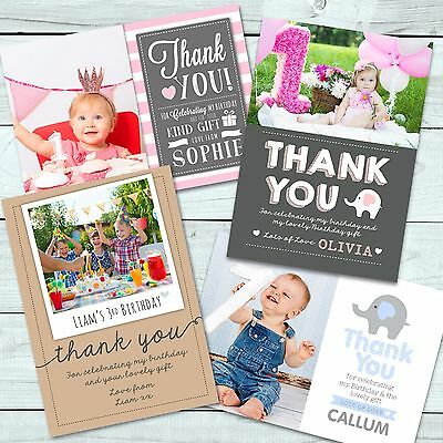 Personalised  Birthday Thank You Card  • Boy • Girl • Photo • First
