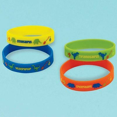 4pk Prehistoric Party Rubber Bracelets Childrens Birthday Party Favours