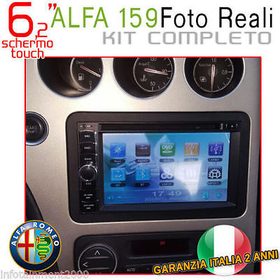 "AUTORADIO 6,2"" Alfa Romeo 159 Touch Navigatore Gps Bluetooth Mp3 Dvd sd Usb ."