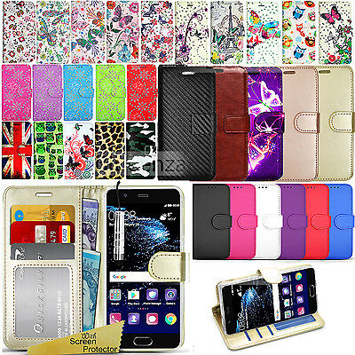 For Huawei P10 -Wallet Leather Case Flip Stand Magnetic Cover+ Screen Protector