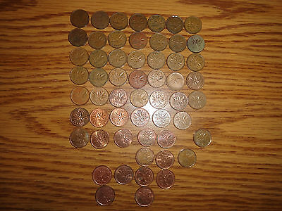 Lot Of 56 Different Canada Small Cent Coins - Pennies - 1920 To 1999 - Vg