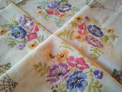 Spring Flower Posies & Spider webs ~  Vintage Hand Embroidered Tablecloth