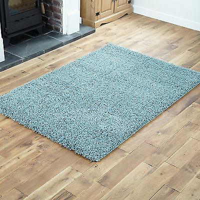 NEW 120x170cm LARGE MODERN DUCK EGG BLUE 5CM SHAGGY RUGS THICK SOFT PILE RUG