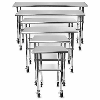 Gridmann NSF Stainless Steel Commercial Kitchen Prep & Work Table w/ 4 Casters