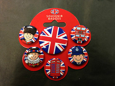 Pack Packet Of 6 X London Button Badges Flag New And Packed Policeman Union Jack