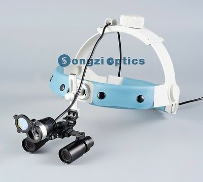 4X Headband Binocular Dental Surgical Loupes and LED Light with a Yellow Filter