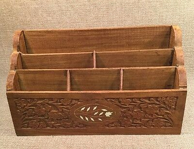 Wooden Hand Carved Desk Organizer Made In India?