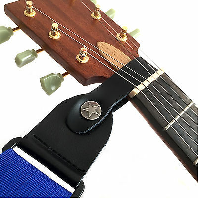 Guitar Head Stock Strap Leather - For Accoustic Electric Bass Ukulele Mandolin