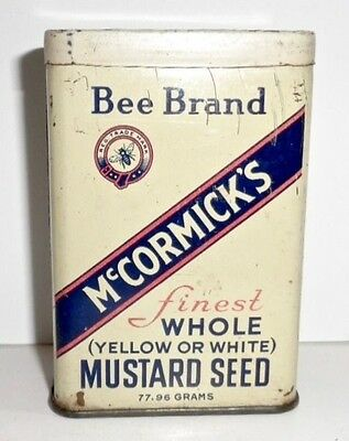OLD McCORMICK'S BEE BRAND FINEST WHOLE MUSTARD SEED KITCHEN SPICE TIN 2 3/4 OZ