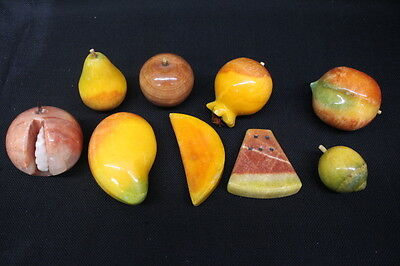 9pc Vintage Italian Alabaster Marble Stone Fruit: Lime Pear Melon Apple Peach