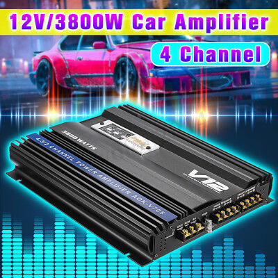 3800 Watt Car Audio Power Stereo Amplifier RMS 4 CH Channel Powerful PWM 4Ohm