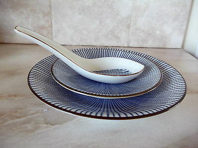 12 Piece Porcelain Blue and White Japanese Dinner Set, with Spoons.
