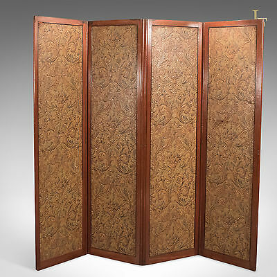 Antique Folding Screen, Victorian Walnut, Photography Prop, Wall Panel c.1870