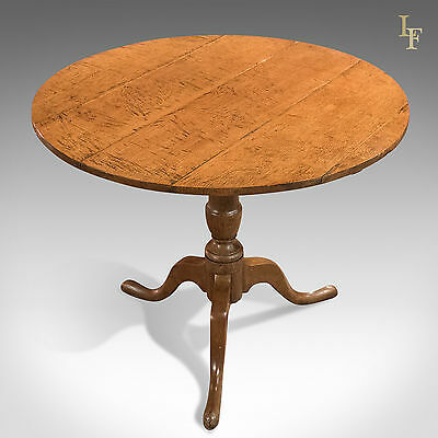 Antique, Tilt Top Table, Georgian Oak, English, Side, Lamp c.1750