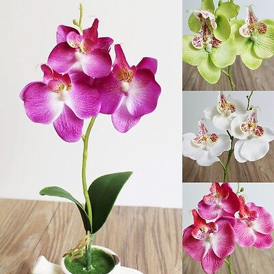Artificial Butterfly Orchid Silk Leaf Fake Flowers Home Wedding Party Decor Gift