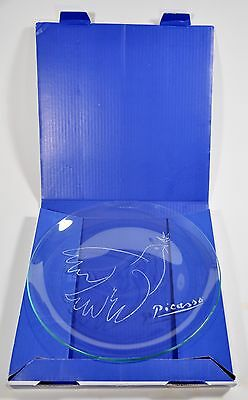 Picasso Dove Glass Serving Plate:  Masterpiece Editions, Authorized in Paris