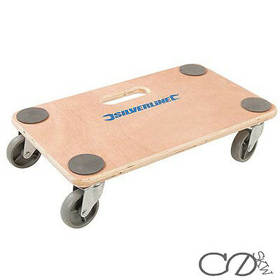 Silverline 150Kg Wooden Platform Dolly Cart Castor Wheels Furniture Mover