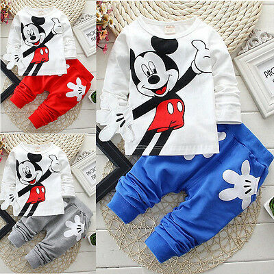 New Kids Baby Boys Mickey Mouse Cotton T-shirt+Pants Outfits Set Casual Clothing
