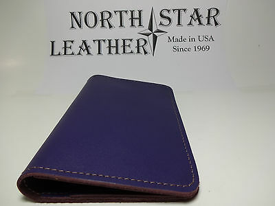 North Star Purple Top Stub Leather Checkbook Cover-1st Quality-Made In USA #131