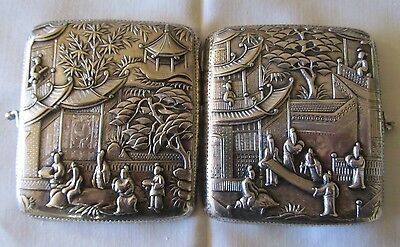 Antique 1800's Chinese Sterling Silver Cigarette Holder Case