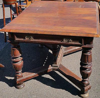 Antique Large Dining Table  Solid Wood Stunning Carved Legs Drawer Strong Sturdy
