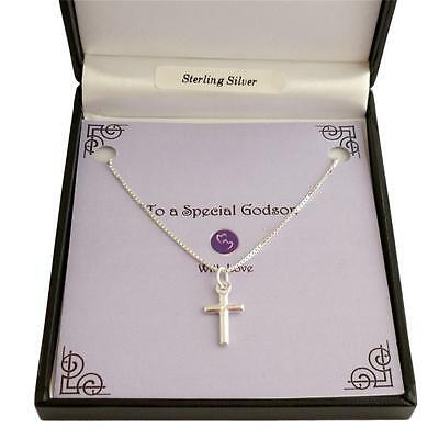 Sterling Silver Cross Necklace for Man or Boy. Gift for Birthday, Baptism etc