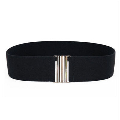 For Hot New Belts Buckle Fashion Wide Silver Waistband Elastic Corset Stretch