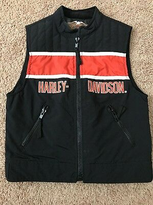 Boys Harley Davidson Racing Motorcycle Nylon Vest Sz Small 5-6