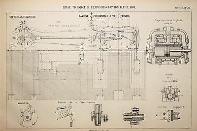 Antique 1889 Engineering Print - French - Steam Engines Machines Mechanics 28/29