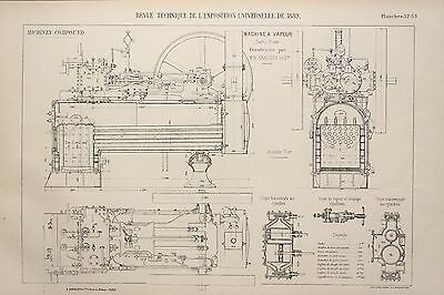 Antique 1889 Engineering Print - French - Steam Engines Machines Mechanics 52/53