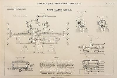 Antique 1889 Engineering Print - French - Steam Engines Machines Mechanics 20/21