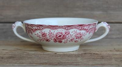 CROWN DUCAL Red BRISTOL Two Handled Cream SOUP BOWL Transferware Birds Flowers