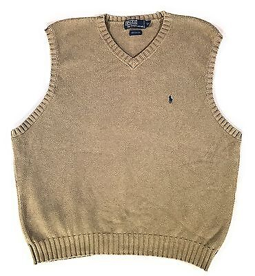 Polo Ralph Lauren 100% Cotton V-Neck Sweater Vest Men's XXL