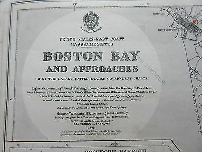 Antique British Admiralty Chart Map Boston Bay & Approaches 1899-1919