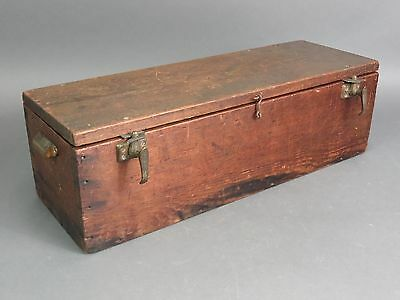 "Antique 26"" Long Handmade Wooden Toolbox Carpenters Storage Box"