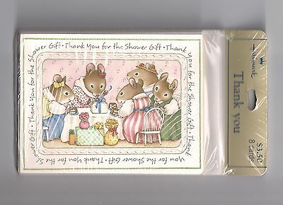 Vintage Hallmark Shower Gift Thank You Cards MICE Set 8 Cards & Envelopes SEALED