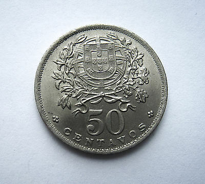 1947 50 Centavos Portugal Coin Km577 Great Condition Rare