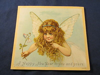 RARE VARIATION Antique Victorian Trade Card ANGEL FAIRY GIRL FLOWER NEW YEARS