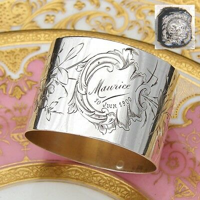 "Antique French Sterling Silver Napkin Ring, ""Maurice"" Inscription, Engraved Bird"